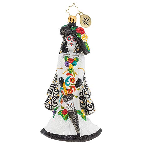 Christopher Radko Dia De Los Muertos Beautiful Bride Christmas Ornament, White, Black