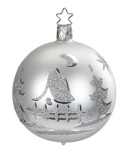 Inge Glas Kugel Ball 8 cm Christmas Eve White 20209T008 German Glass Ornament