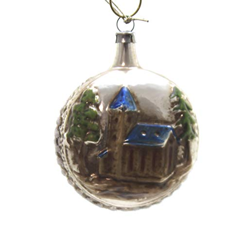 Marolin Blue ROOF Church Glass Ornament Feather Tree 2011202