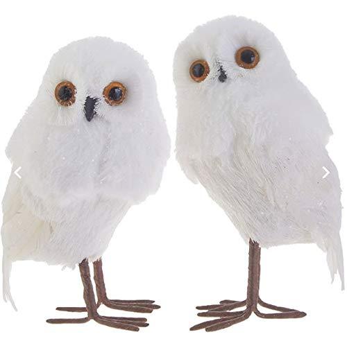 RAZ Imports 5.5″ Faux Fur Feather White/Brown Aspen Christmas Owl – Set of 2