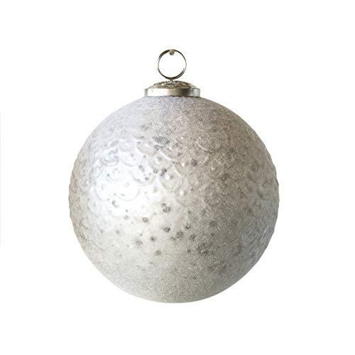 Creative Co-Op 5 Inch Flocked Velvet White Ornament