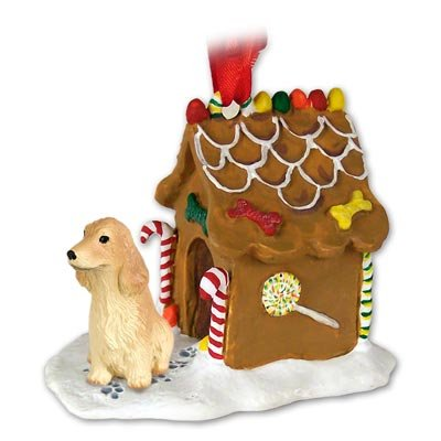 Cocker Spaniel English Blonde Ginger Bread House Ornament