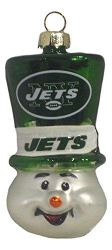 New York Jets Top Hat Snowman Glass Ornament