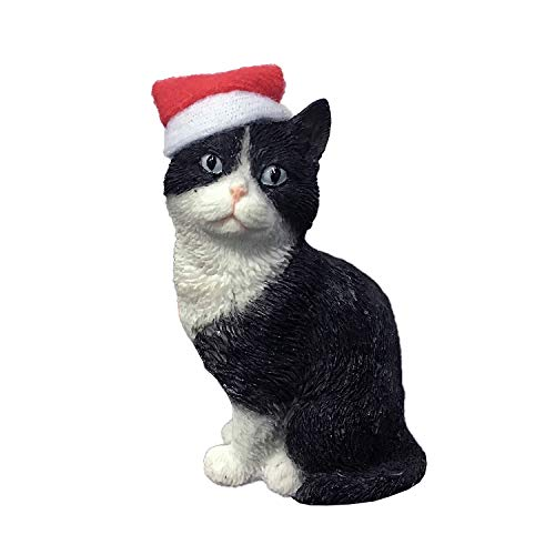 Sandicast Shorthair Tuxedo Cat with Santa Hat Christmas Ornament