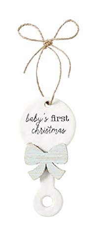 Mud Pie Unisex Baby's First Christmas Rattle Ornament Blue One Size