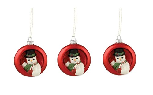 Bethany Lowe Retro Christmas Ornaments Diorama Snowman Inside Ornament, Set of 3