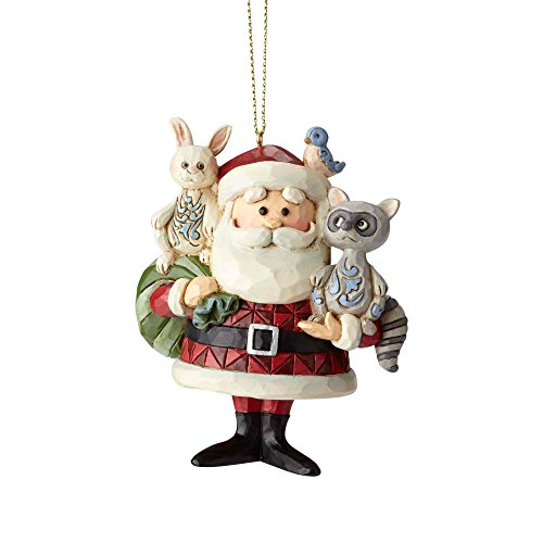 Enesco Rudolph The Red Nosed Reindeer by Jim Shore Santa with Woodland Animals Hanging Ornament 3.6″ Multicolor