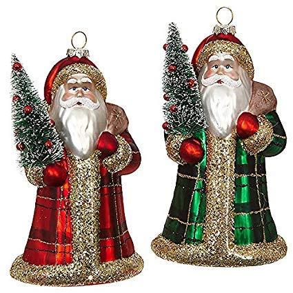 RAZ Imports SET OF 2 Raz 6.5″ Red or Green Plaid Santa Glass Christmas Ornament 3824570