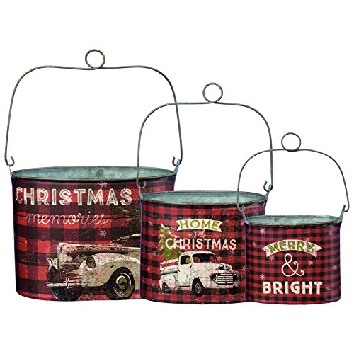 Primitives by Kathy Rustic Christmas 3-Piece Tin Bucket Set, Set of 3, Plaid