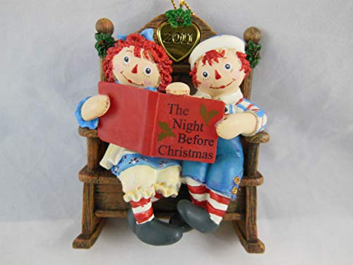 Danbury Mint Raggedy Ann & Andy Annual Ornament Reading The Night Before Christmas 2011