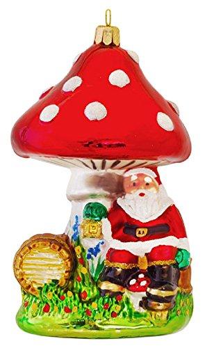 Pinnacle Peak Trading Company Dwarf Santa Claus Sitting Under Mushroom Polish Glass Christmas Tree Ornament