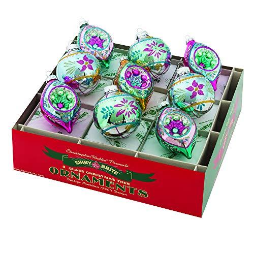 Shiny Brite Vintage Celebration 2.5″ Round and Tulip Reflector Ornaments – Set of 9