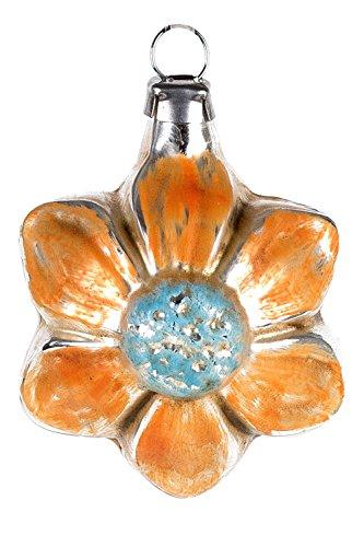 Marolin Mini Ornament Orange Bloom MA2011065A German Glass Ornament w/Gift Box
