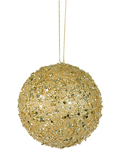 Vickerman Fancy Gold Holographic Glitter Drenched Christmas Ball Ornament, 4″