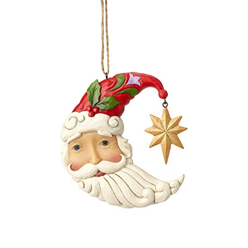 Enesco Jim Shore Heartwood Creek 6001503 Crescent Moon Santa Ornament, Multicolor