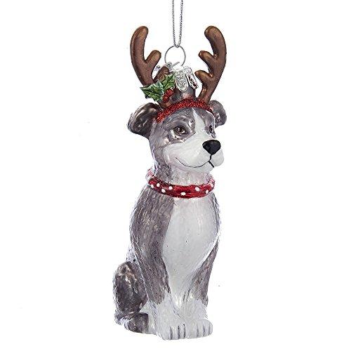 Kurt Adler Kurt S. Adler Noble Gems Pitbull with Antlers Glass Ornament