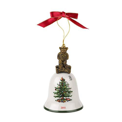 Spode Christmas Tree 2018 Annual Edition Ornament, Teddy Bear on Bell