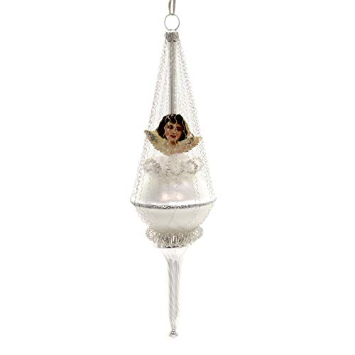 Marolin Silver Angel Balloon Glass Ornament Feather Tree Oblates 2018021