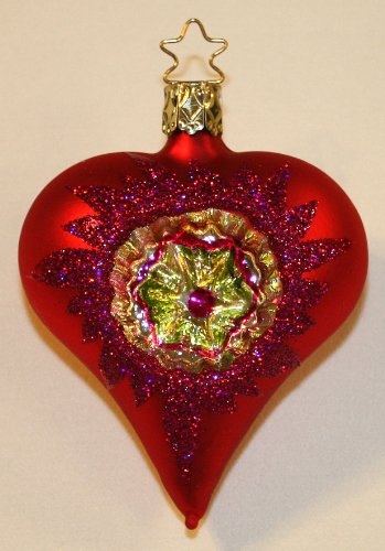 Inge Glas Reflector Heart Love Within 1-088-08 German Glass Christmas Ornament