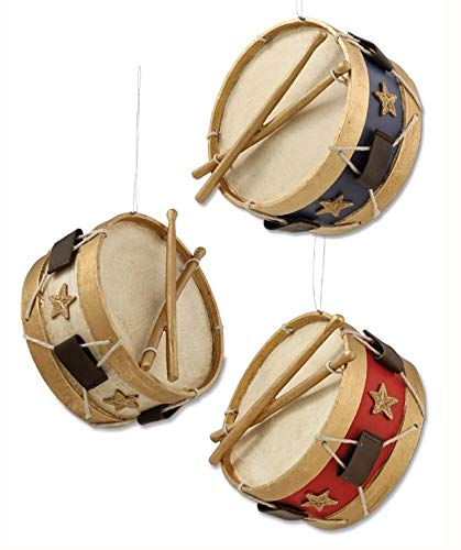 Bethany Lowe Americana Drum Ornament (Set of 3)