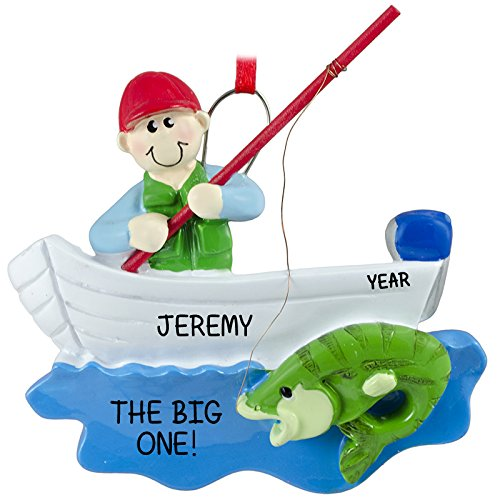 Rudolph and Me Fisherman Boat Personalized Christmas Tree Ornament