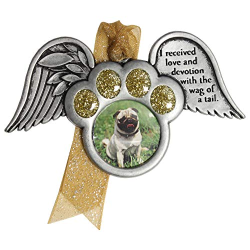 Gloria Duchin Memorial Dog Paw with Wings Christmas Ornament, 3.5″ x 2″, Multicolor