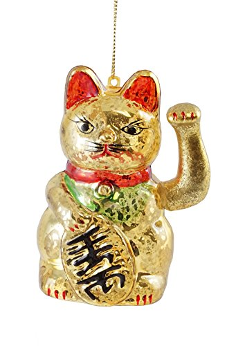 Creative Co-op Maneki Neko Fortune Cat Hanging Christmas Ornament