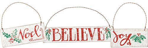 Primitives by Kathy Hand Lettered Christmas Joy Noel Believe Ornaments (Set of 3)