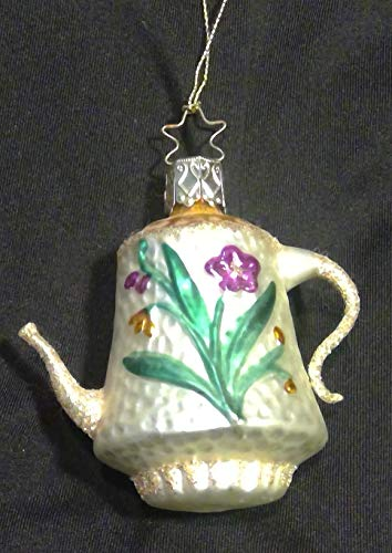 Floral Teapot by Inge Glas German Glass Ornament