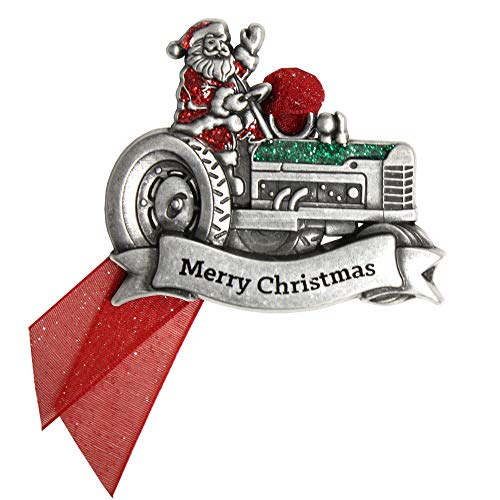 Gloria Duchin Pewter Santa Tractor Christmas Ornament Silver and Red