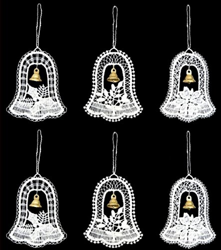 Pinnacle Peak Trading Company German Lace Bells with Metal Bells Christmas Tree Ornaments Set of 6 Decorations