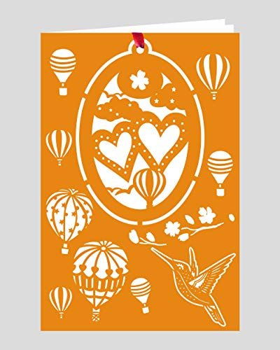 Crystal Delight by Mascot (Set of 3) Greeting Card with Ornament – Twin Hearts Hot Air Balloon