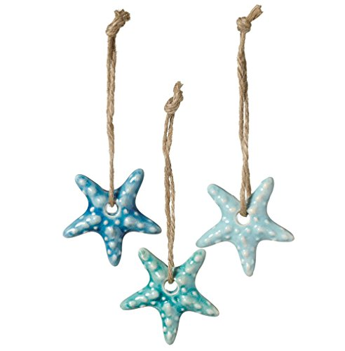 Set of 3 Assorted Midwest CBK Ceramic Coastal Ornaments on Jute Rope Hangers (Starfish)