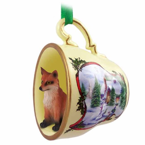 Conversation Concepts Fox Red Tea Cup Snowman Holiday Ornament (Set of 6)