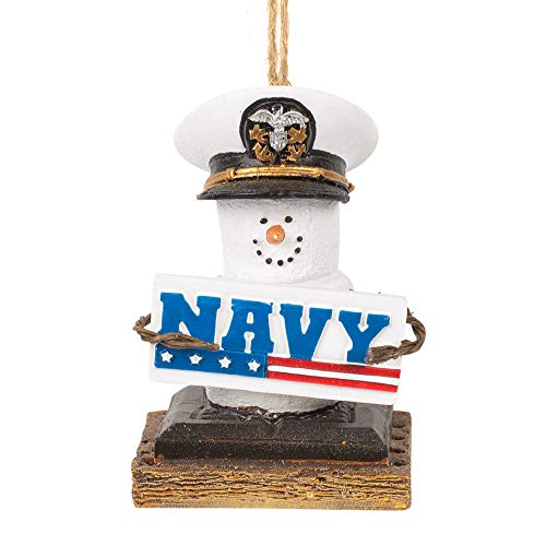 Midwest-CBK Navy S'Mores Military Patriotic White 3 x 2 Resin Stone Christmas Ornament
