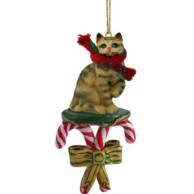 Conversation Concepts Brown Shorthaired Tabby Cat Candy Cane Ornament