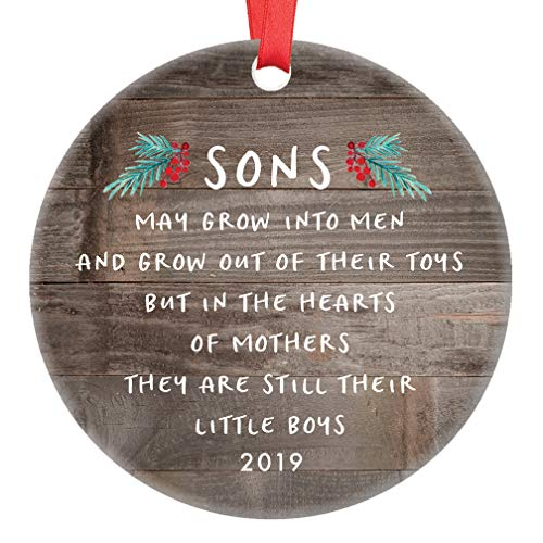Gift for Son Christmas Ornament 2019 Sons In The Hearts of Mothers Poem Present Idea, Mom from Young or Grown Child Xmas Ceramic Farmhouse Keepsake 3″ Flat Circle Porcelain with Red Ribbon & Free Box