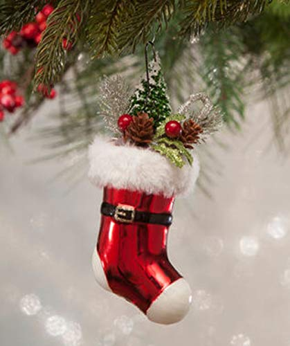 Bethany Lowe Santa Stocking Glass Christmas Tree Ornament