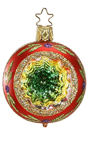 Inge-Glas Reflector Ball Christmas Sparkles Red 20686R006A German Glass Ornament