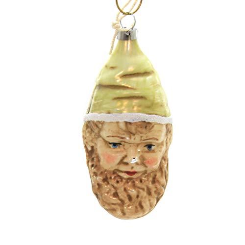 Marolin Green HAT GNOME Glass Ornament Feather Tree 2011018