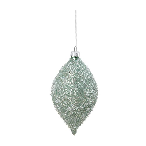"Raz 6"" Sage Green Glittered Iced Finial Christmas Ornament"
