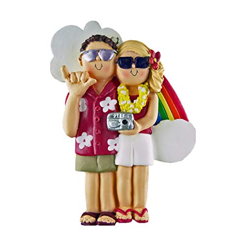 Personalized Vacation Couple Christmas Tree Ornament 2019 – Brunette Male Blonde Female Tourist Summer Rainbow Two Travelers Camera Together Visit Honeymoon Plan Hawaii Miami – Free Customization