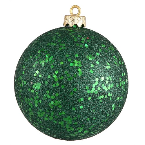 Vickerman Sequin Finish Christmas Ball Ornament Seamless Shatterproof with Drilled Cap, 8″ , Emerald