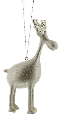 RAZ Imports Elegant Silver Metallic Moose Figurine Ornament