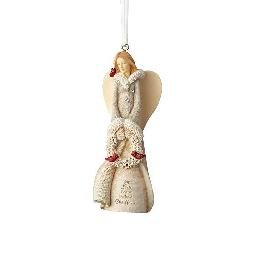 Foundations Stone Resin Hanging Ornament with S-Hook (Angel with Wreath)