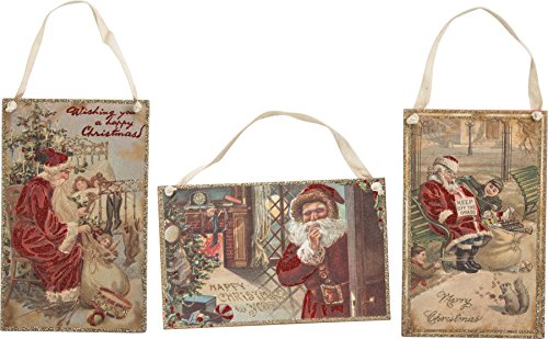 Primitives by Kathy Vintage Santa Hang Up Sign Set – 3 Classic Christmas Inspired Woods Signs with Glitter Embellishments