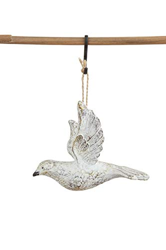 Creative Co-Op Resin Dove Ornament, Distressed White Finish
