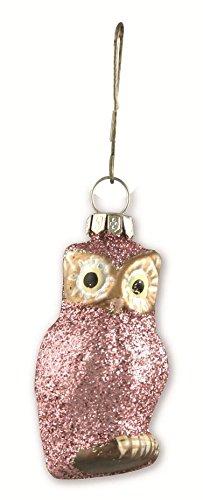 Bethany Lowe Christmas – Pastel Pink Glitter Glass Owl Ornament LG0749P