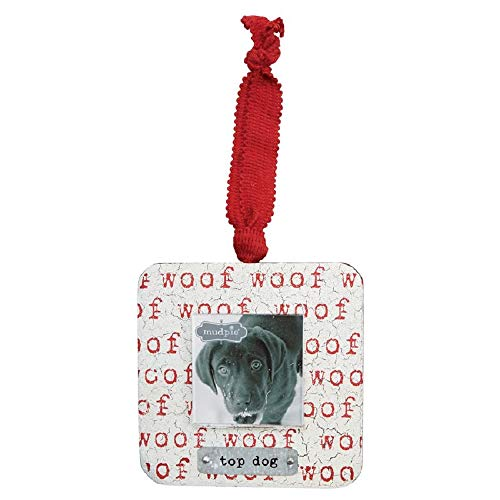 Mud Pie Woof Top Dog Wooden Hanging Photo Frame Ornament
