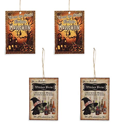 Bethany Lowe Halloween Tin 3.5 in Ornaments Set of 4 Night Before and Witches Brew